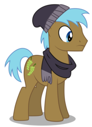 Size: 3539x4859 | Tagged: safe, artist:dragonchaser123, neigh sayer, earth pony, pony, fake it 'til you make it, .ai available, background pony, beanie, clothes, hat, male, scarf, simple background, solo, stallion, transparent background, vector