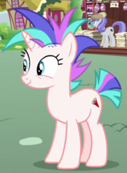 Size: 247x336   Tagged: safe, screencap, snappy scoop, pony, unicorn, it isn't the mane thing about you, background pony, cropped, female, mare, megaphone (character), mohawk, mohawks for everypony, smiling, solo focus