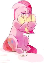 Size: 1298x1831 | Tagged: safe, artist:elskafox, pinkie pie, earth pony, pony, balloon, crying, female, hug, mare, pinkamena diane pie, sad, sitting, solo