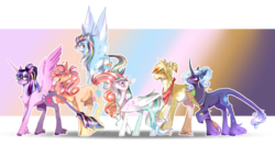 Size: 1900x1000 | Tagged: alicorn, alternate design, applejack, artist:kotowataczekolada, blushing, classical unicorn, cloven hooves, cutie mark, female, fluttershy, freckles, gradient background, leonine tail, mane six, mare, missing accessory, neckerchief, pinkie pie, pony, rainbow dash, rarity, redesign, safe, simple background, transparent background, twilight sparkle, twilight sparkle (alicorn), unicorn, unshorn fetlocks