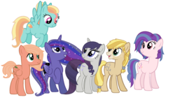 Size: 2444x1432 | Tagged: alicorn, alicorn oc, artist:restlessbard, base used, earth pony, female, magical lesbian spawn, male, mare, next generation, oc, oc:melody, oc:mountain harvest, oc only, oc:orchard smith, oc:party song, oc:star magia dust, oc:sweet feather, offspring, parent:applejack, parent:big macintosh, parent:fluttershy, parent:octavia melody, parent:pinkie pie, parent:princess luna, parent:rainbow dash, parent:rarity, parent:rockhoof, parents:fluttermac, parents:raritavia, parents:rockjack, parents:twiluna, parents:vinylpie, parents:zephdash, parent:twilight sparkle, parent:vinyl scratch, parent:zephyr breeze, pegasus, safe, simple background, stallion, unicorn, white background