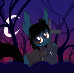 Size: 1495x1471 | Tagged: safe, artist:dragonpone, derpibooru exclusive, earth pony, pony, undead, zombie, zombie pony, bags under eyes, blood, blood stains, bloodshot eyes, bone, cheek fluff, clothes, crescent moon, dead tree, dripping blood, ear fluff, eyeliner, eyeshadow, fangs, gravestone, graveyard, lidded eyes, lip piercing, makeup, male, moon, oliver sykes, piercing, ponified, rainbow blood, scar, shirt, solo, stallion, stitches, tattoo, torn ear, tree