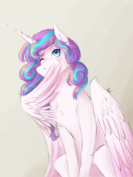Size: 1536x2048 | Tagged: safe, artist:mad-maker-cat, princess flurry heart, pony, older, one eye closed, solo, wing hands