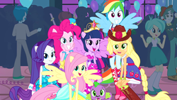Size: 1920x1080 | Tagged: safe, edit, edited screencap, screencap, applejack, fluttershy, pinkie pie, rainbow dash, rarity, scott green, spike, tennis match, thunderbass, twilight sparkle, alicorn, dog, equestria girls, equestria girls (movie), big crown thingy, breasts, cleavage, element of magic, fall formal outfits, humane five, humane six, jewelry, ponied up, regalia, spike the dog, twilight sparkle (alicorn)