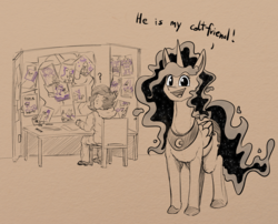 Size: 1946x1576   Tagged: safe, artist:duop-qoub, princess luna, oc, oc:human grey, alicorn, human, pony, colored hooves, dialogue, female, happy, human male, male, mare, monochrome, neo noir, partial color, question mark, radical, smiling, traditional art