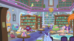 Size: 1920x1080 | Tagged: safe, screencap, auburn vision, berry blend, berry bliss, clever musings, huckleberry, november rain, slate sentiments, strawberry scoop, summer meadow, earth pony, pegasus, pony, unicorn, molt down, background pony, book, bookshelf, chair, crystal, discovery family logo, female, friendship student, globe, library, male, mare, reading, sad, school, school of friendship, sleeping, smiling, stallion, studying, table, teapot