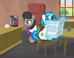 Size: 3169x2468 | Tagged: artist:shutterflyeqd, chair, clothes, coffee, dj pon-3, earth pony, female, mare, morning ponies, newspaper, octavia melody, reading, robe, safe, smiling, table, unicorn, vinyl scratch