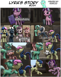 Size: 3928x4903 | Tagged: 3d, artist:goatcanon, bacon braids, bon bon, book, comic, comic:lyra's story, equal cutie mark, equal town, hug, implied lesbian, implied lyrabon, implied shipping, lyra heartstrings, night glider, our town, safe, source filmmaker, starlight glimmer, starlight's village, sugar belle, sweetie drops