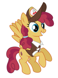 Size: 3744x5000 | Tagged: safe, artist:dragonchaser123, sunny delivery, pegasus, pony, the break up breakdown, absurd resolution, background pony, clothes, female, flying, hat, mailmare, mailmare hat, mare, simple background, smiling, solo, transparent background, uniform, vector