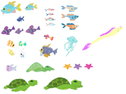 Size: 1362x1016   Tagged: safe, artist:php43, edit, angelfish, eel, fish, jellyfish, moray eel, starfish, tropical fish, turtle, animal, ms paint, ocean, resource, sea turtle, simple background, stock vector, underwater, white background, workshop
