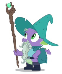 Size: 4202x5000 | Tagged: safe, artist:dragonchaser123, spike, dragon, the break up breakdown, absurd resolution, boots, cloak, clothes, dungeons and dragons, fake beard, garbuncle, hat, magic staff, male, ogres and oubliettes, shoes, simple background, solo, transparent background, vector, wizard, wizard hat