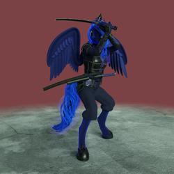 Size: 2160x2160 | Tagged: safe, artist:stellarator, princess luna, alicorn, anthro, unguligrade anthro, 3d, armor, arrow, blender, cycles, daisho, defensive, diadem, female, hipposandals, hooves, horn, jewelry, katana, leather, leather armor, mare, not sfm, solo, sword, tiara, wakizashi, weapon, wings, wip