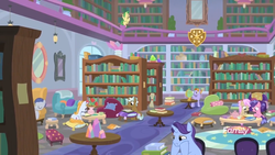 Size: 1366x768 | Tagged: safe, screencap, auburn vision, berry blend, berry bliss, clever musings, huckleberry, november rain, slate sentiments, strawberry scoop, summer meadow, earth pony, pegasus, pony, unicorn, molt down, background pony, book, bookshelf, chair, crystal, discovery family logo, female, friendship student, globe, library, male, mare, reading, sad, school, school of friendship, sleeping, smiling, stallion, studying, table, teapot