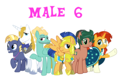 Size: 2923x1849 | Tagged: alternate mane six, artist:19crowbar19, artist:chainchomp2 edit, artist:faithfulandstrong, artist:frownfactory, artist:j-pinkie, artist:saukapie, editor:jdueler11, equestria girls ponified, flash sentry, male, male six, ponified, pony, prince blueblood, safe, simple background, stallion, star tracker, sunburst, timber spruce, transparent background, vector, zephyr breeze