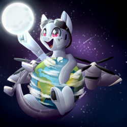 Size: 2500x2500 | Tagged: safe, artist:rainbow tea, oc, oc:dorn, original species, plane pony, pony, do 217 n2, earth, goggles, macro, male, moon, plane, pony bigger than a planet, smiling, space, stallion, stars, tangible heavenly object