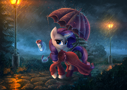 Size: 4961x3508 | Tagged: safe, artist:atlas-66, rarity, pony, unicorn, beautiful, clothes, coat, coffee, cup, female, magic, mare, rain, solo, streetlight, telekinesis, umbrella