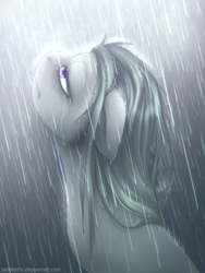 Size: 1024x1365 | Tagged: artist:jadekettu, earth pony, female, looking up, marble pie, mare, pony, rain, safe, solo, wet, wet mane
