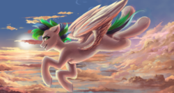 Size: 1024x555 | Tagged: artist:zefirayn, cloud, digital art, ear fluff, flying, looking sideways, male, multicolored hair, multicolored mane, multicolored tail, oc, oc only, pegasus, pony, safe, signature, sky, solo, spread wings, stallion, sun, sunset, vexel, wings, ych result