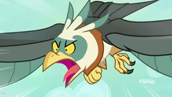 Size: 1920x1080 | Tagged: safe, screencap, bird, roc, molt down, diving, flying, open beak, screech, solo, tongue out