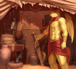 Size: 5284x4791 | Tagged: safe, artist:audrarius, oc, oc only, oc:sirocco breeze, bird, falcon, pegasus, peregrine falcon, anthro, abs, absurd resolution, ankh, anubis, bow (weapon), bowl, bracelet, bracer, clothes, commission, dagger, digital art, ear piercing, earring, egyptian, egyptian pony, headband, jewelry, khopesh, loincloth, looking at you, male, map, merchant, muscles, necklace, partial nudity, piercing, pottery, shopkeeper, showing, solo, stallion, statue, statuette, sword, tent, topless, vase, wall of tags, weapon, wings