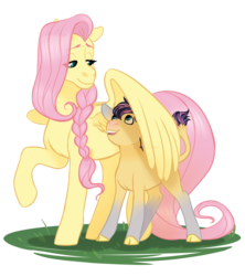 Size: 1280x1440 | Tagged: safe, artist:whisperseas, fluttershy, oc, oc:stormhoof, hybrid, braid, cloven hooves, female, interspecies offspring, lidded eyes, male, mother and son, offspring, parent:fluttershy, parent:iron will, parents:ironshy, simple background, transparent background, wing shelter