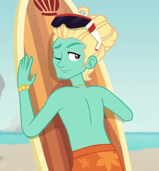 Size: 670x720 | Tagged: safe, screencap, gladys, zephyr breeze, blue crushed, equestria girls, equestria girls series, clothes, cropped, male, one eye closed, partial nudity, smiling, stupid sexy zephyr breeze, sunglasses, surfboard, topless