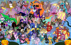 Size: 5999x3845 | Tagged: safe, artist:hooon, idw, accord, adagio dazzle, ahuizotl, angel bunny, antonio, applejack, aria blaze, arimaspi, auntie shadowfall, babs seed, basil, big boy the cloud gremlin, bookworm (character), buck withers, bulk biceps, chimera sisters, cipactli, cirrus cloud, clump, dandy grandeur, daybreaker, decepticolt, diamond tiara, discord, dj pon-3, doctor caballeron, dumbbell, feather bangs, fido, filthy rich, flam, flim, fluttershy, gaea everfree, garble, gilda, gladmane, gloriosa daisy, goldcap, granny smith, grubber, hard hat (character), high heel, hoops, ira, iron will, jet set, juniper montage, king longhorn, king sombra, lightning dust, long face, lord tirek, lyra heartstrings, mane-iac, manny roar, marine sandwich, mustachioed apple, nightmare moon, nightmare rarity, nosey news, olden pony, pinkie pie, pony of shadows, prince blueblood, prince rutherford, princess celestia, princess luna, principal abacus cinch, professor flintheart, quarterback, queen chrysalis, rabia, radiant hope, rainbow dash, rarity, reginald, rough diamond, rover, sci-twi, screwball, shadow lock, silver spoon, smooze, snails, snips, sonata dusk, sphinx (character), spike, spoiled rich, spot, squizard, starlight glimmer, storm king, street rat, sunset shimmer, suri polomare, svengallop, tantabus, temperance flowerdew, tempest shadow, trixie, twilight sparkle, upper crust, vinyl scratch, wallflower blush, well-to-do, wind rider, wrangler, zappityhoof, zesty gourmand, oc, oc:kydose, alicorn, bat pony, bee, bird, bugbear, cerberus, changeling, chimera, cockatrice, cragadile, crocodile, diamond dog, dragon, fruit bat, griffon, headless horse, hydra, manticore, parasprite, pukwudgie, roc, siren, sphinx, spider, tatzlwurm, timber wolf, umbrum, ursa minor, vampire fruit bat, wendigo, windigo, equestria girls, equestria girls series, forgotten friendship, my little pony: the movie, secrets and pies, ahuizotl's cats, alicorn amulet, antagonist, apple, black vine, carrie nation, chaos is magic, evil pie hater dash, flim flam miracle curative tonic, flutterbat, food, headless, hope, inspiration manifestation book, jack-o-lantern, mane six, midnight sparkle, multiple heads, pinkamena diane pie, ponies of dark water, pouch pony, pumpkin, quill (character), race swap, score, shadowbolts, smudge, spear, spikezilla, the dazzlings, three heads, twilight sparkle (alicorn), wall of tags, weapon