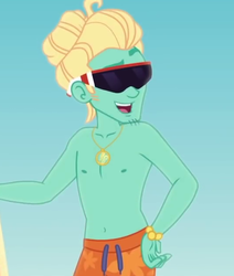 Size: 535x632 | Tagged: safe, screencap, zephyr breeze, blue crushed, equestria girls, equestria girls series, clothes, cropped, glasses, jewelry, male, necklace, partial nudity, sky, smiling, solo, stupid sexy zephyr breeze, sunglasses, topless, zephyr's necklace