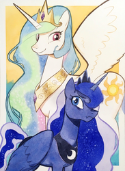Size: 1500x2048 | Tagged: safe, artist:tyantyai_mokka, princess celestia, princess luna, alicorn, pony, crown, duo, female, jewelry, looking at you, mare, necklace, regalia, royal sisters, sisters, traditional art, watercolor painting