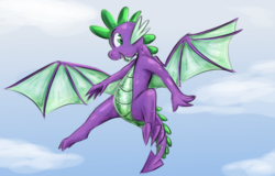 Size: 1662x1063 | Tagged: artist:testostepone, colored sketch, flying, male, molt down, safe, solo, spike, winged spike, wings