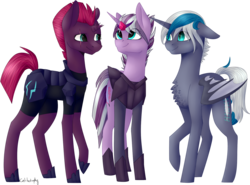 Size: 1560x1154 | Tagged: safe, artist:sychia, tempest shadow, oc, oc:elizabat stormfeather, oc:sergeant powershift, alicorn, bat pony, bat pony alicorn, pony, unicorn, icey-verse, my little pony: the movie, alicorn oc, armor, broken horn, canon x oc, chest fluff, eye scar, family, female, lesbian, magical lesbian spawn, mare, next generation, offspring, parent:oc:elizabat stormfeather, parent:tempest shadow, parents:stormshadow, scar, shipping, simple background, stormshadow, transparent background