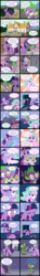Size: 3000x20119 | Tagged: alicorn, artist:magerblutooth, cat, clothes, comic, comic:diamond and dazzle, diamond tiara, dragon, earth pony, food, fountain, gem, hammer, imp, link, muffin, oc, oc:dazzle, oc:handy dandy, pony, randolph, safe, sledgehammer, spike, sweat, the legend of zelda, twilight sparkle, twilight sparkle (alicorn)