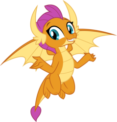 Size: 4782x5000 | Tagged: safe, artist:dashiesparkle, smolder, dragon, school daze, .svg available, absurd resolution, claws, cute, dragon wings, dragoness, fangs, female, flying, simple background, smiling, smolderbetes, solo, spread wings, teeth, transparent background, vector, wings