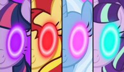 Size: 600x350 | Tagged: counterparts, creepy, female, glowing eyes, magical quartet, mare, pony, safe, starlight glimmer, sunset shimmer, trixie, twilight's counterparts, twilight sparkle, yu-gi-oh!, yugioh arc v