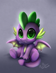 Size: 2550x3341 | Tagged: safe, artist:pridark, spike, dragon, molt down, baby, baby dragon, big eyes, cute, daaaaaaaaaaaw, eye reflection, fangs, gradient background, green eyes, hnnng, male, reflection, scales, signature, sitting, smiling, solo, spikabetes, winged spike, wings