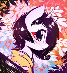 Size: 3800x4094 | Tagged: safe, artist:mirroredsea, rarity, pony, unicorn, alternate hairstyle, bust, clothes, cute, female, leaves, looking at you, mare, smiling, solo