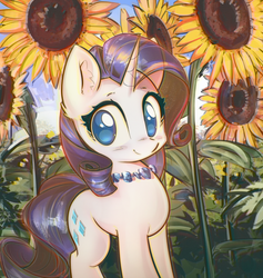 Size: 3800x4010 | Tagged: artist:mirroredsea, chromatic aberration, cute, ear fluff, female, flower, jewelry, looking at you, mare, necklace, outdoors, pony, raribetes, rarity, safe, smiling, solo, standing, sunflower, unicorn