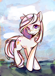 Size: 1768x2414 | Tagged: artist:mirroredsea, colored sketch, female, fleurabetes, fleur-de-lis, looking at you, mare, pony, safe, smiling, solo, unicorn