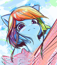 Size: 2662x3035 | Tagged: safe, artist:mirroredsea, rainbow dash, pegasus, pony, alternate hairstyle, blushing, bust, cute, dashabetes, female, looking at you, mare, portrait, scan lines, short mane, smiling, solo