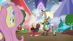Size: 1280x720 | Tagged: safe, screencap, big macintosh, discord, fluttershy, spike, draconequus, pony, unicorn, dungeons and discords, archer, armor, black knight, bow (weapon), captain wuzz, cloak, clothes, dice, dungeons and dragons, female, garbuncle, gem, hat, helmet, horned helmet, magic staff, male, mare, ogres and oubliettes, parsnip, race swap, sir mcbiggen, staff, stallion, sword, unicorn big mac, weapon, wizard, wizard hat