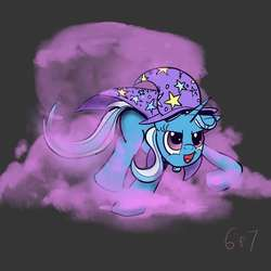 Size: 800x800   Tagged: safe, artist:sixes&sevens, derpibooru exclusive, trixie, pony, unicorn, cape, clothes, female, gray background, hat, mare, missing cutie mark, open mouth, raised hoof, raised leg, running, simple background, smiling, smirk, smoke, trixie's cape, trixie's hat