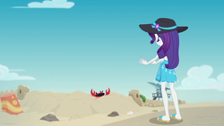 Size: 1280x720 | Tagged: safe, screencap, rarity, crab, giant crab, aww... baby turtles, equestria girls, equestria girls series, clothes, crab fighting a giant rarity, feet, flip-flops, hat, legs, rarity fighting a giant crab, rarity fighting a regular sized crab, role reversal, ruins, sand castle, sandals, swimsuit