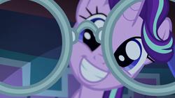 Size: 1280x720 | Tagged: safe, screencap, starlight glimmer, sunburst, pony, unicorn, uncommon bond, adoracreepy, creepy, cute, female, first person view, glasses, glimmerbetes, grin, implied sunburst, looking at you, offscreen character, pov, smiling, sunburst's glasses