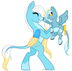 Size: 745x729 | Tagged: artist:aledera, boop, colored wings, female, filly, happy, holding a pony, leonine tail, mare, oc, oc only, oc:skya, oc:sweet tune, pegasus, pony, safe, simple background, transparent background, two toned wings