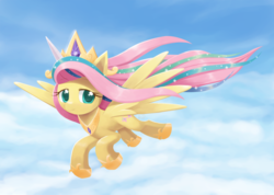 Size: 1407x1000 | Tagged: safe, artist:howxu, fluttershy, pegasus, pony, horse play, cloud, cosplay, costume, crown, cute, fake alicorn, fake horn, female, flying, hoof shoes, jewelry, mare, peytral, regalia, shyabetes, shylestia, sky, smiling