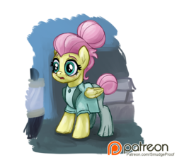 Size: 1500x1353 | Tagged: safe, alternate version, artist:smudge proof, fluttershy, pony, fake it 'til you make it, alternate hairstyle, alternate scene, breaking character, clothes, dialogue, fear, frightened, frozen in fear, lost composure, offscreen character, patreon, patreon logo, patreon reward, rarity for you, scared, severeshy, shop, simple background, solo, transparent background