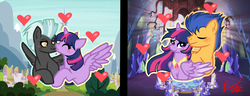 Size: 969x374 | Tagged: safe, artist:bel-thesweet-sylveon, flash sentry, thunderlane, twilight sparkle, alicorn, pegasus, pony, base used, female, flashlight, heart, male, mare, shipping, stallion, straight, twilane, twilight sparkle (alicorn)