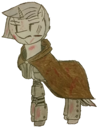Size: 1299x1675 | Tagged: armor, artist:antique1899, blood, cape, clothes, fallout equestria, fallout equestria: stalker, oc, oc:clear sky, oc only, pony, scar, semi-grimdark, simple background, solo, sword, traditional art, transparent background, unicorn, weapon