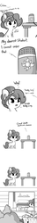 Size: 1650x9900 | Tagged: safe, artist:tjpones, oc, oc only, oc:brownie bun, earth pony, pony, horse wife, alexa, amazon echo, amazon.com, arrow, candy, chest fluff, chocolate, comic, cutie mark, dialogue, doot, ear fluff, female, food, grayscale, implied princess celestia, into the trash it goes, mare, master sword, monochrome, peanut butter, reese's peanut butter cups, simple background, smiling, the legend of zelda, trash, trash can, white background