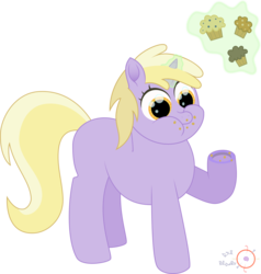 Size: 1903x2000 | Tagged: safe, artist:onil innarin, dinky hooves, pony, unicorn, cute, eating, female, filly, food, muffin, signature, simple background, solo, transparent background, vector